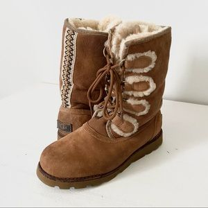 Ugg Rommy tan brown lace up shearling boots size 7
